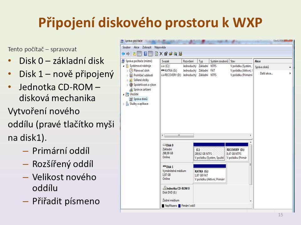 Připojení diskového prostoru k WXP Tento počítač – spravovat • Disk 0 – základní disk • Disk 1 – nově připojený • Jednotka CD-ROM – disková mechanika Vytvoření nového oddílu (pravé tlačítko myši na disk1).