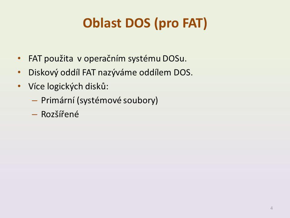 Oblast DOS (pro FAT) • FAT použita v operačním systému DOSu. • Diskový oddíl FAT nazýváme oddílem DOS. • Více logických disků: – Primární (systémové s