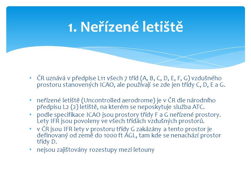 • ČR uznává v předpise L11 všech 7 tříd (A, B, C, D, E, F, G) vzdušného prostoru stanovených ICAO, ale používají se zde jen třídy C, D, E a G. • neříz