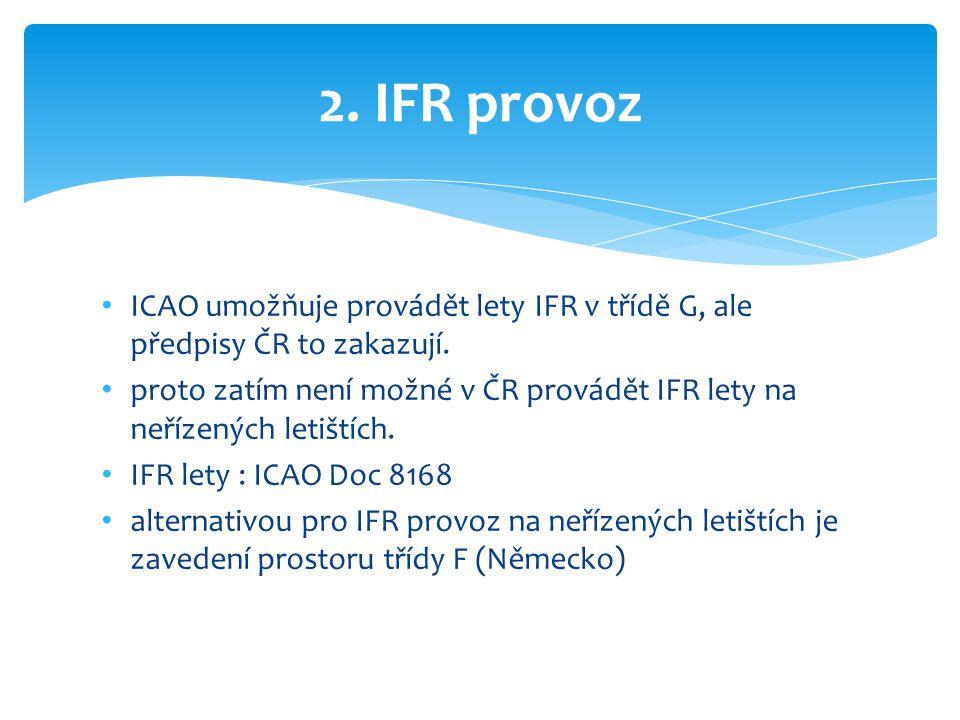 • ICAO umožňuje provádět lety IFR v třídě G, ale předpisy ČR to zakazují. • proto zatím není možné v ČR provádět IFR lety na neřízených letištích. • I