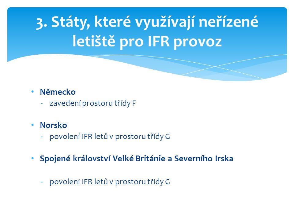 • Německo -zavedení prostoru třídy F • Norsko -povolení IFR letů v prostoru třídy G • Spojené království Velké Británie a Severního Irska -povolení IF