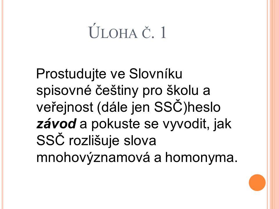 Ú LOHA Č. 1 Prostudujte ve Slovníku spisovné češtiny pro školu a veřejnost (dále jen SSČ)heslo závod a pokuste se vyvodit, jak SSČ rozlišuje slova mno