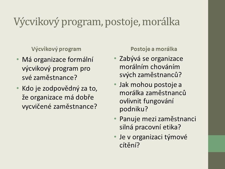 Výcvikový program, postoje, morálka Výcvikový program • Má organizace formální výcvikový program pro své zaměstnance? • Kdo je zodpovědný za to, že or
