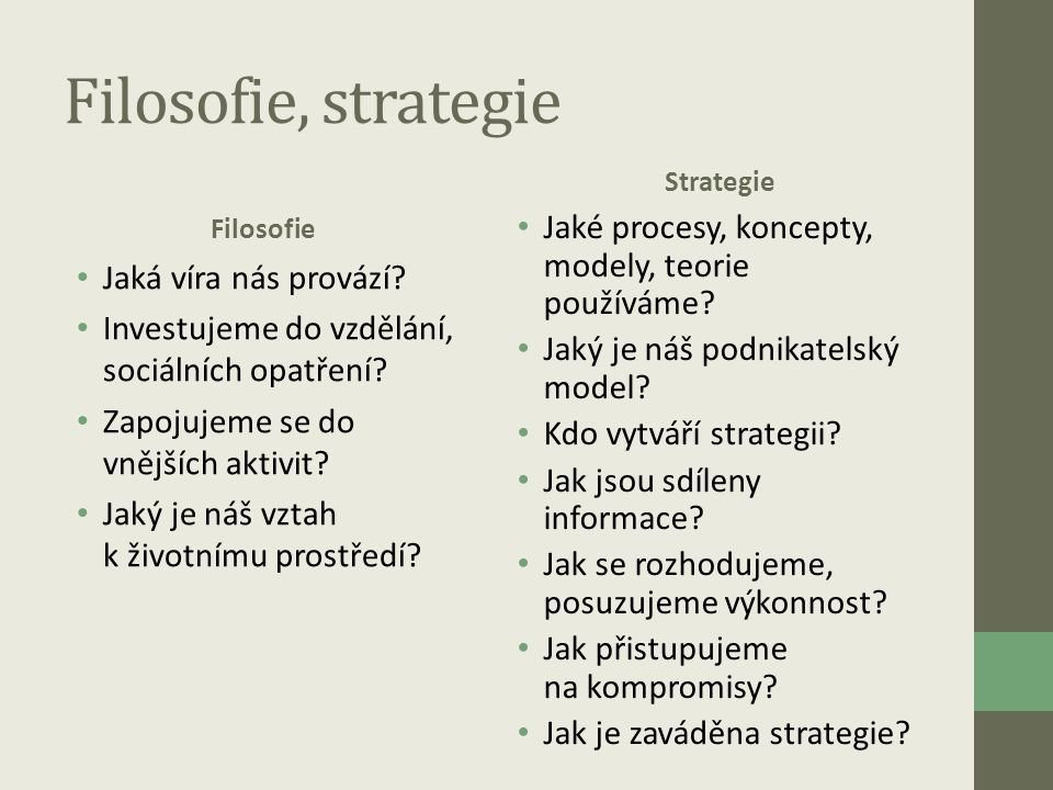 Filosofie, strategie Filosofie • Jaká víra nás provází? • Investujeme do vzdělání, sociálních opatření? • Zapojujeme se do vnějších aktivit? • Jaký je