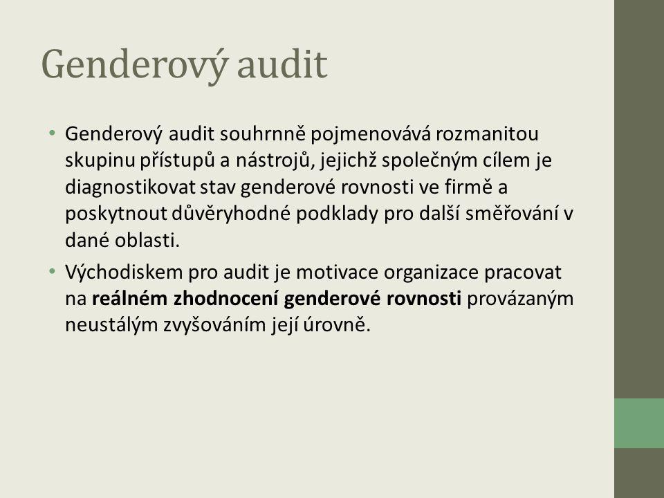 Genderový audit • Genderový audit souhrnně pojmenovává rozmanitou skupinu přístupů a nástrojů, jejichž společným cílem je diagnostikovat stav genderov