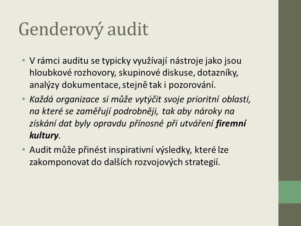 Genderový audit • V rámci auditu se typicky využívají nástroje jako jsou hloubkové rozhovory, skupinové diskuse, dotazníky, analýzy dokumentace, stejn