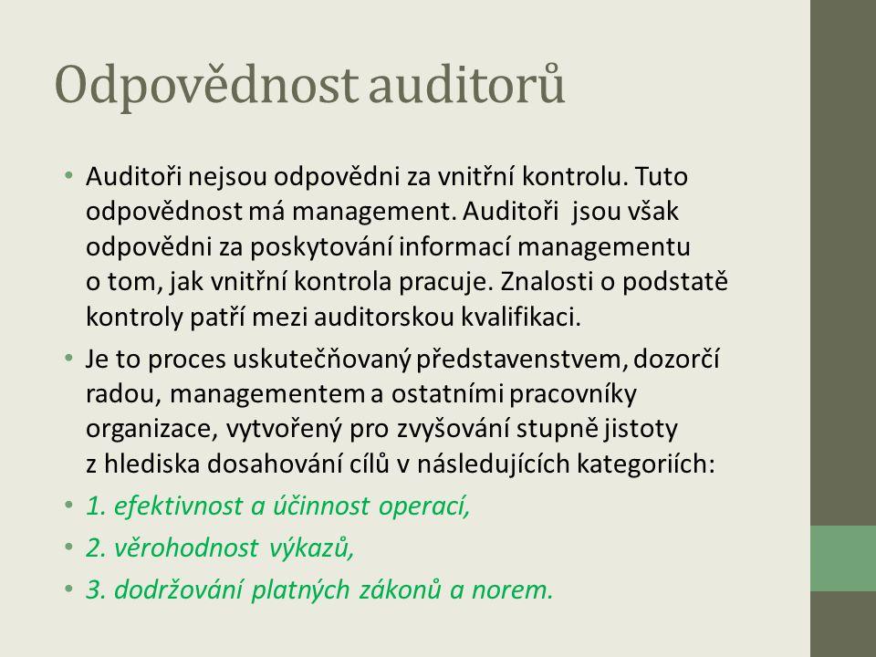Odpovědnost auditorů • Auditoři nejsou odpovědni za vnitřní kontrolu. Tuto odpovědnost má management. Auditoři jsou však odpovědni za poskytování info