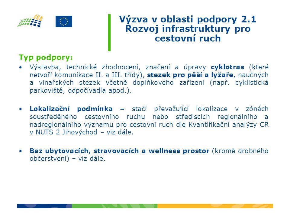 Výzva v oblasti podpory 2.1 Rozvoj infrastruktury pro cestovní ruch Typ podpory: •Výstavba, technické zhodnocení, značení a úpravy cyklotras (které netvoří komunikace II.