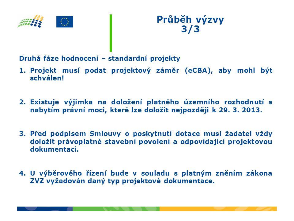 Průběh výzvy 3/3 Druhá fáze hodnocení – standardní projekty 1.Projekt musí podat projektový záměr (eCBA), aby mohl být schválen.