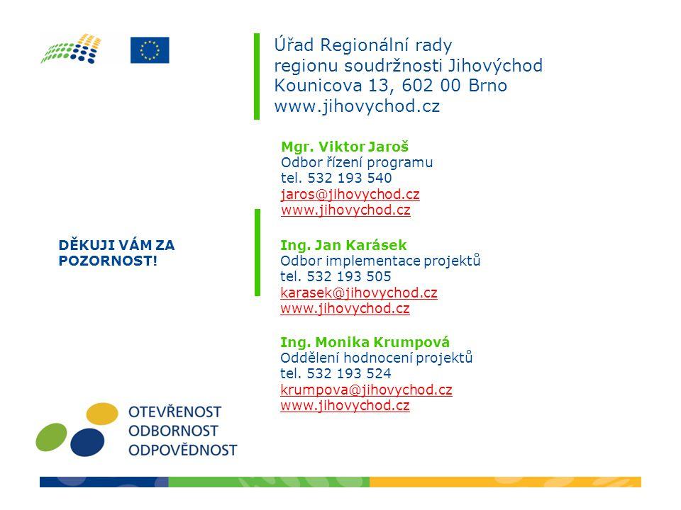 Úřad Regionální rady regionu soudržnosti Jihovýchod Kounicova 13, 602 00 Brno www.jihovychod.cz Ing.