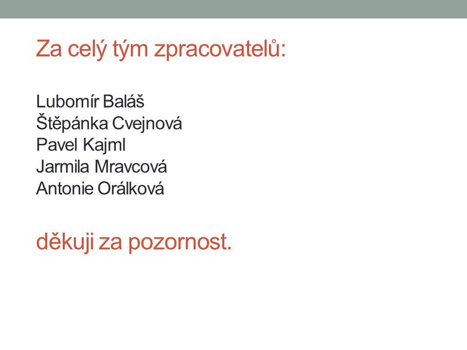 Za celý tým zpracovatelů: Lubomír Baláš Štěpánka Cvejnová Pavel Kajml Jarmila Mravcová Antonie Orálková děkuji za pozornost.