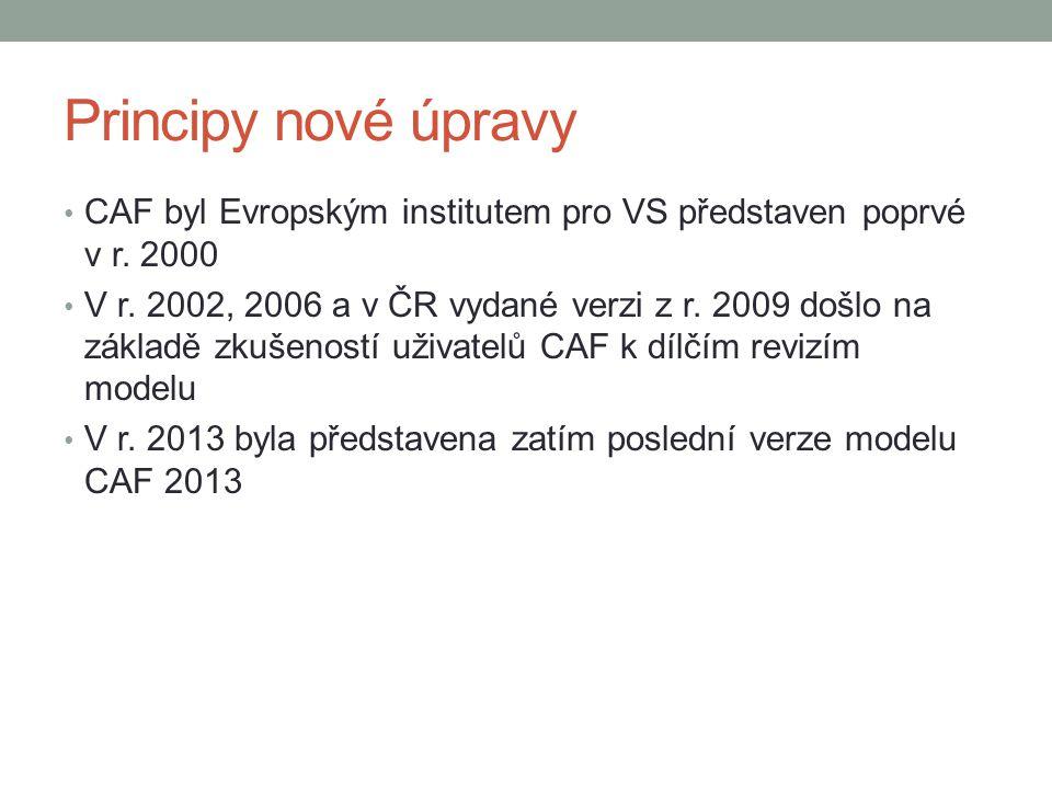 Principy nové úpravy • CAF byl Evropským institutem pro VS představen poprvé v r. 2000 • V r. 2002, 2006 a v ČR vydané verzi z r. 2009 došlo na základ