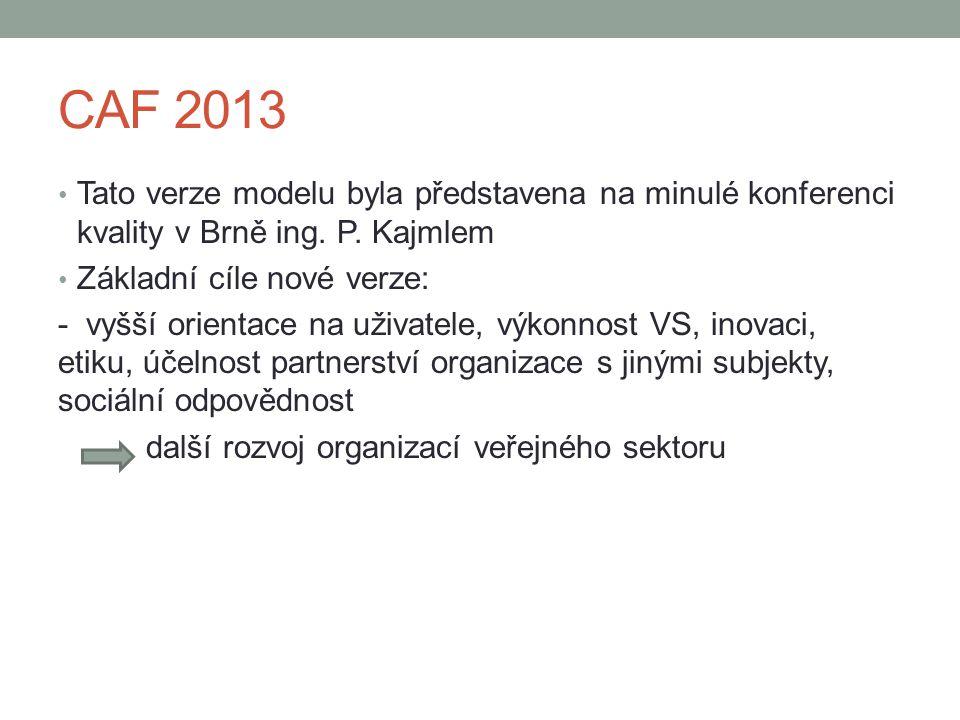 CAF 2013 • Tato verze modelu byla představena na minulé konferenci kvality v Brně ing. P. Kajmlem • Základní cíle nové verze: - vyšší orientace na uži