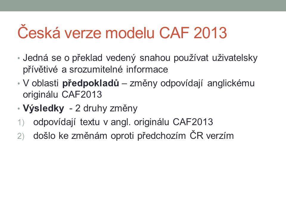Česká verze modelu CAF 2013 • Jedná se o překlad vedený snahou používat uživatelsky přívětivé a srozumitelné informace • V oblasti předpokladů – změny