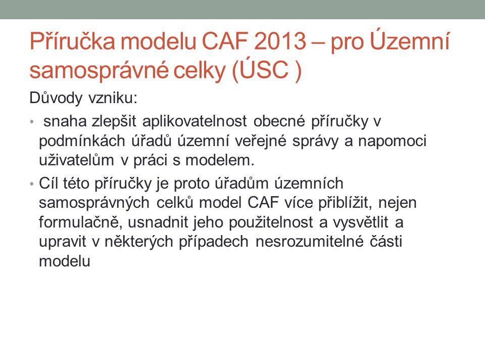 Příručka modelu CAF 2013 – pro Územní samosprávné celky (ÚSC ) Důvody vzniku: • snaha zlepšit aplikovatelnost obecné příručky v podmínkách úřadů územn