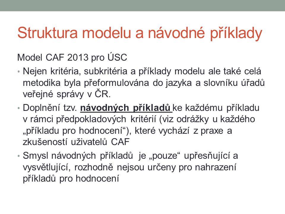 Struktura modelu a návodné příklady Model CAF 2013 pro ÚSC • Nejen kritéria, subkritéria a příklady modelu ale také celá metodika byla přeformulována