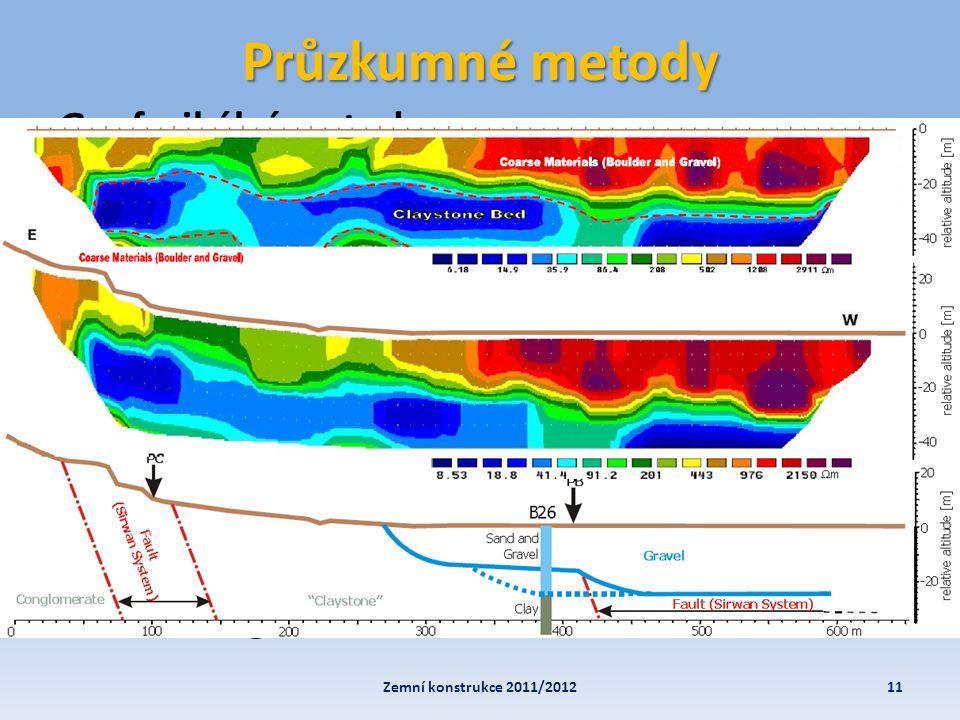 Průzkumné metody 11Zemní konstrukce 2011/2012 Geofyzikální metody • elektrické – VES, Multikabel • ostatní – gravimetrie, úderová seismika …