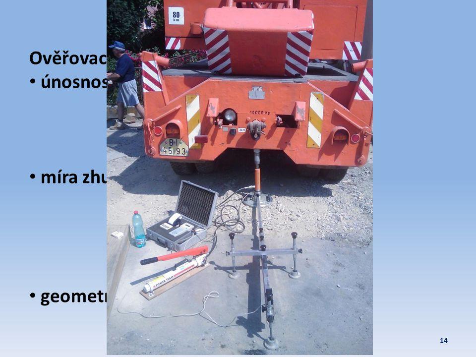 Polní zkoušky 14Zemní konstrukce 2011/2012 Ověřovací: • únosnost • míra zhutnění • geometrie