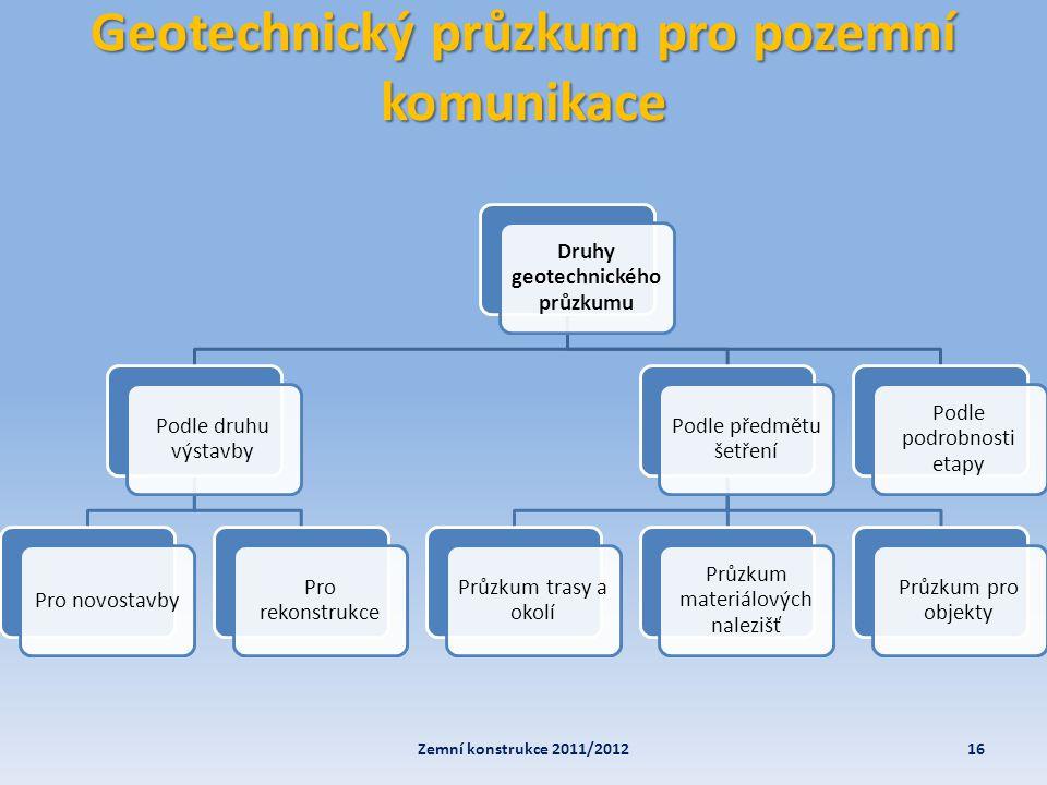 Geotechnický průzkum pro pozemní komunikace 16Zemní konstrukce 2011/2012 Druhy geotechnického průzkumu Podle druhu výstavby Pro novostavby Pro rekonst