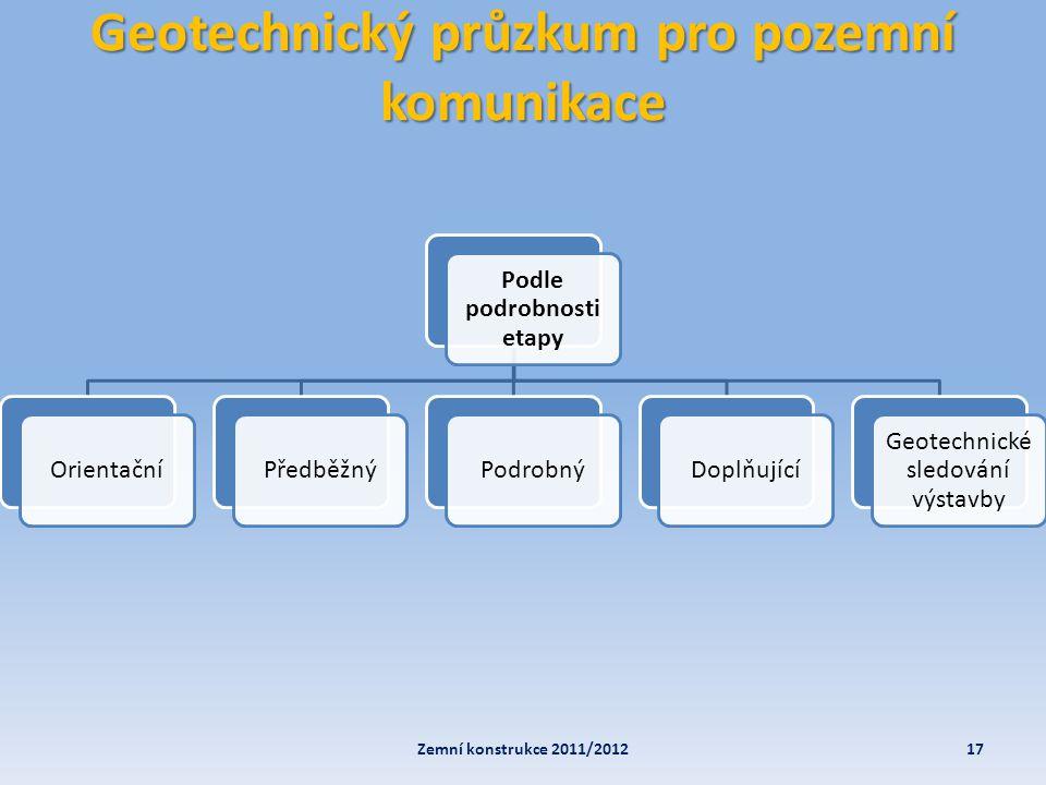 Geotechnický průzkum pro pozemní komunikace 17Zemní konstrukce 2011/2012 Podle podrobnosti etapy OrientačníPředběžnýPodrobnýDoplňující Geotechnické sl