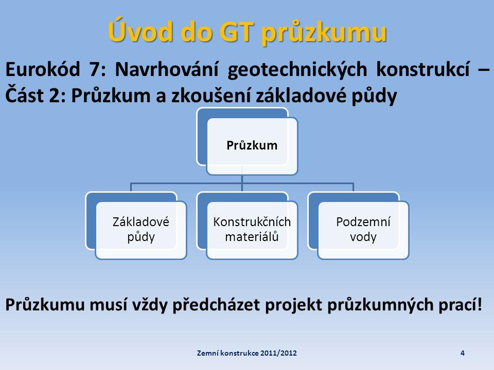 Úvod do GT průzkumu Eurokód 7: Navrhování geotechnických konstrukcí – Část 2: Průzkum a zkoušení základové půdy 4Zemní konstrukce 2011/2012 Průzkum Zá