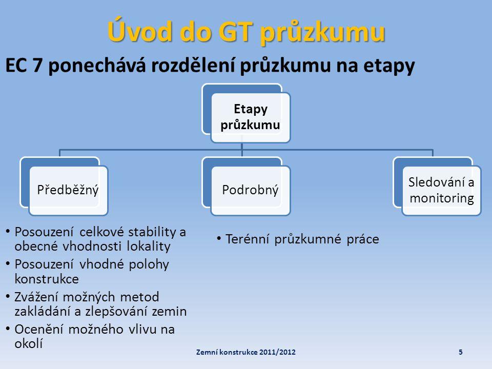 Úvod do GT průzkumu Dále EC 7 (část 2) obsahuje a definuje: • Návrh hloubky průzkumných děl (druhy) • Laboratorní zkoušky (zkušební program, typy) • Terénní zkoušky Jsou v něm popsány všechny možné (i nemožné) polní (terénní) zkoušky, jejich metodika a vhodnost jejich použití.