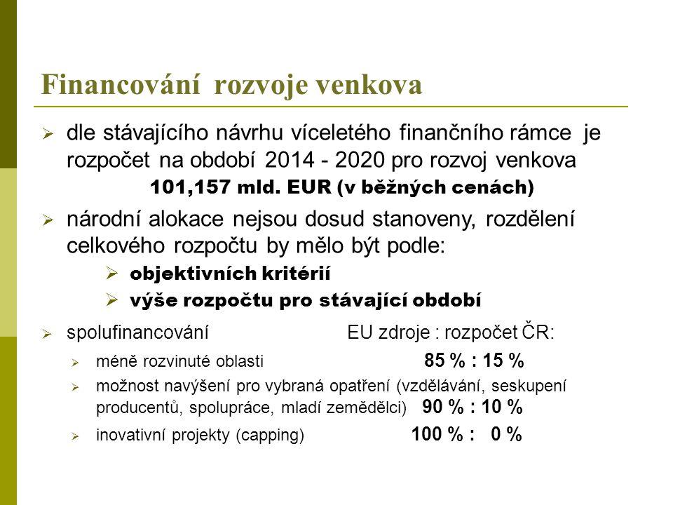 Rozpočet na Program rozvoj venkova  rozpočet by měl být předmětem bilaterálních jednání s EK  lze předpokládat spíše nižší částku z EZFRV než v současném období  dopad vyšší míry kofinancování z EU zdrojů celkový rozpočet na rozvoj venkova může být nižší než pro období 2007 – 2013 .
