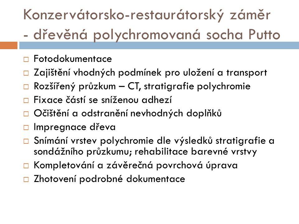 Konzervátorsko-restaurátorský záměr - dřevěná polychromovaná socha Putto  Fotodokumentace  Zajištění vhodných podmínek pro uložení a transport  Roz