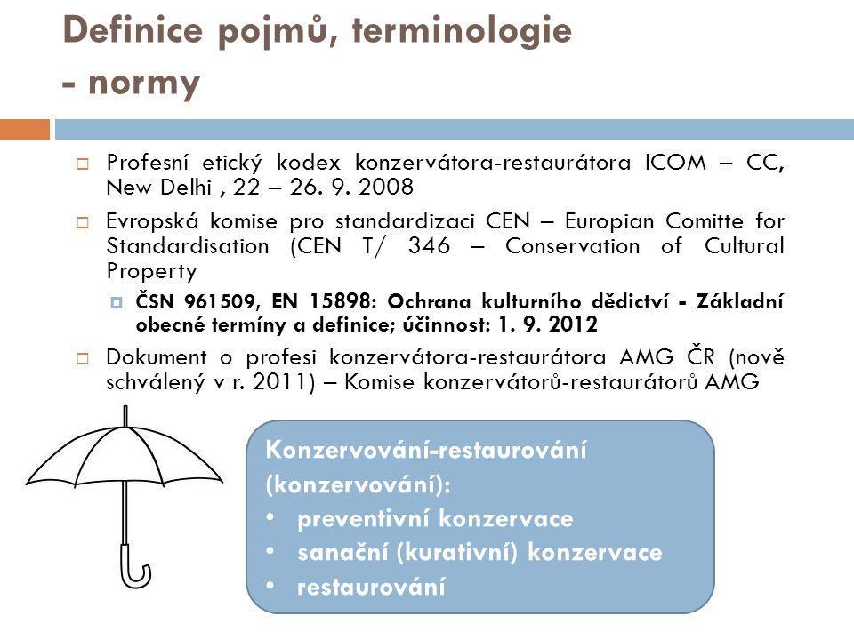 Definice pojmů, terminologie - normy  Profesní etický kodex konzervátora-restaurátora ICOM – CC, New Delhi, 22 – 26. 9. 2008  Evropská komise pro st