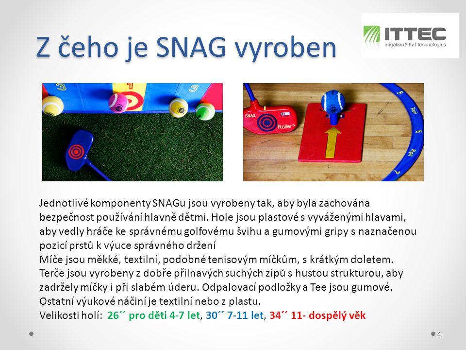 Z čeho je SNAG vyroben Z čeho je SNAG vyroben 4 Jednotlivé komponenty SNAGu jsou vyrobeny tak, aby byla zachována bezpečnost používání hlavně dětmi.