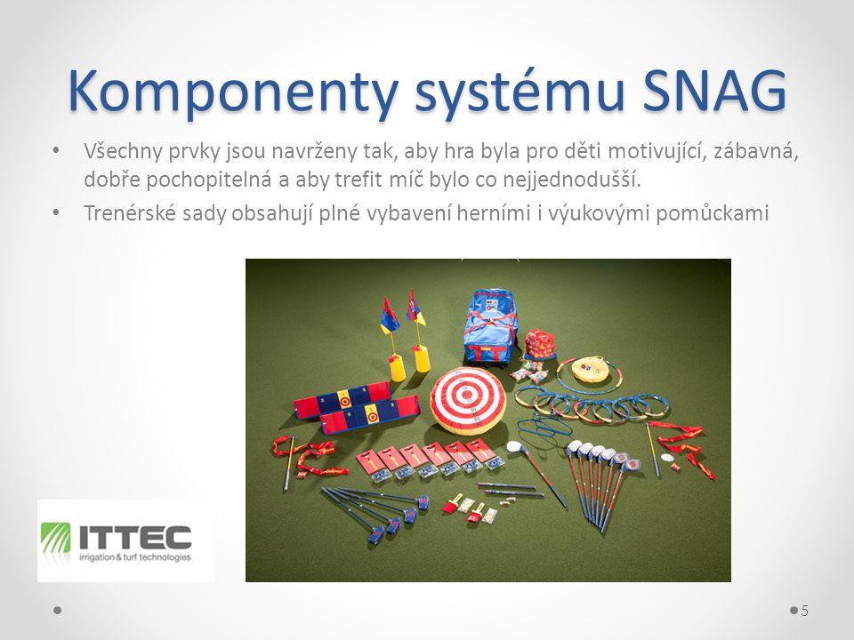 Komponenty systému SNAG • Všechny prvky jsou navrženy tak, aby hra byla pro děti motivující, zábavná, dobře pochopitelná a aby trefit míč bylo co nejjednodušší.