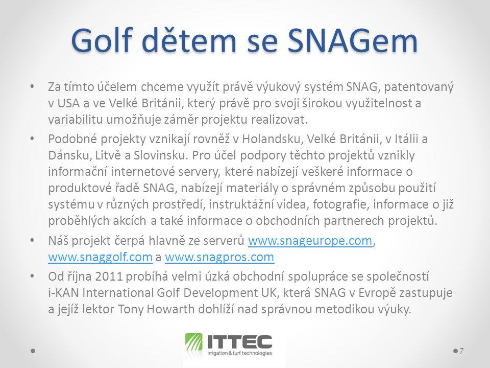 Golf dětem se SNAGem • Za tímto účelem chceme využít právě výukový systém SNAG, patentovaný v USA a ve Velké Británii, který právě pro svoji širokou využitelnost a variabilitu umožňuje záměr projektu realizovat.