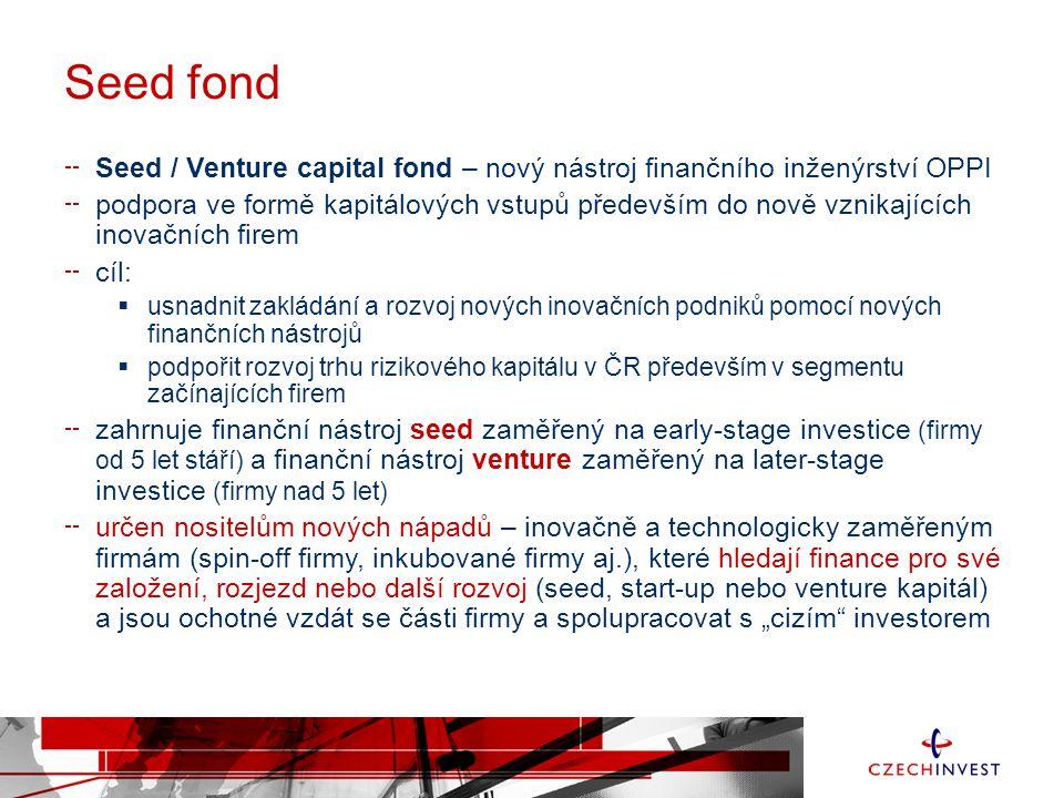 """Seed fond Seed / Venture capital fond – nový nástroj finančního inženýrství OPPI podpora ve formě kapitálových vstupů především do nově vznikajících inovačních firem cíl:  usnadnit zakládání a rozvoj nových inovačních podniků pomocí nových finančních nástrojů  podpořit rozvoj trhu rizikového kapitálu v ČR především v segmentu začínajících firem zahrnuje finanční nástroj seed zaměřený na early-stage investice (firmy od 5 let stáří) a finanční nástroj venture zaměřený na later-stage investice (firmy nad 5 let) určen nositelům nových nápadů – inovačně a technologicky zaměřeným firmám (spin-off firmy, inkubované firmy aj.), které hledají finance pro své založení, rozjezd nebo další rozvoj (seed, start-up nebo venture kapitál) a jsou ochotné vzdát se části firmy a spolupracovat s """"cizím investorem"""