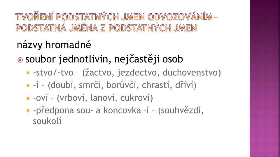 názvy hromadné  soubor jednotlivin, nejčastěji osob  -stvo/-tvo – (žactvo, jezdectvo, duchovenstvo)  -í – (doubí, smrčí, borůvčí, chrastí, dříví) 
