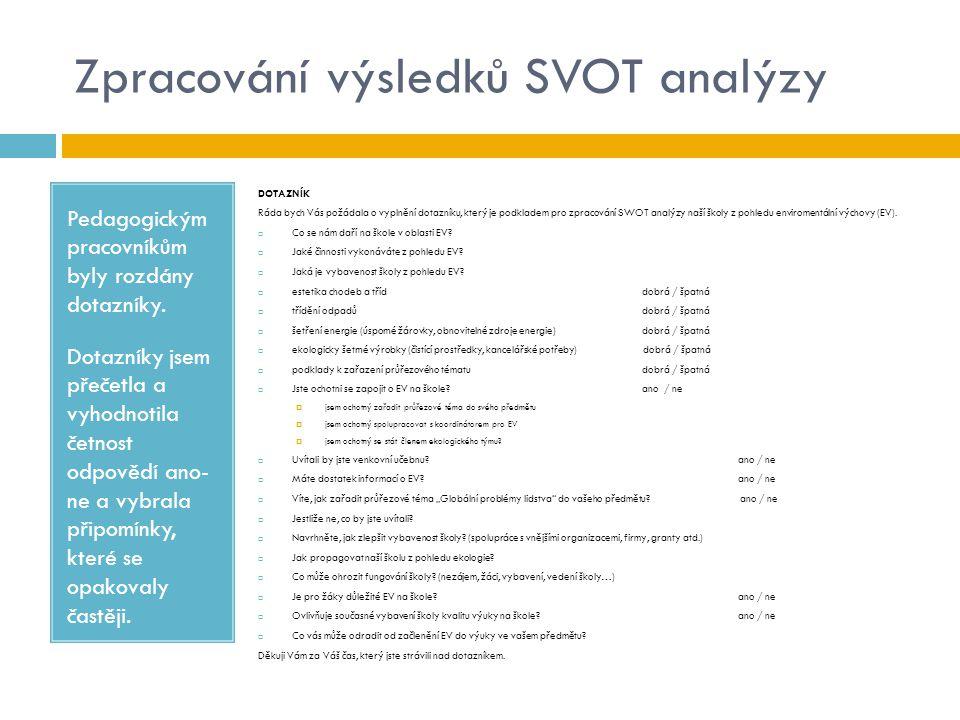 Zpracování výsledků SVOT analýzy Pedagogickým pracovníkům byly rozdány dotazníky. Dotazníky jsem přečetla a vyhodnotila četnost odpovědí ano- ne a vyb