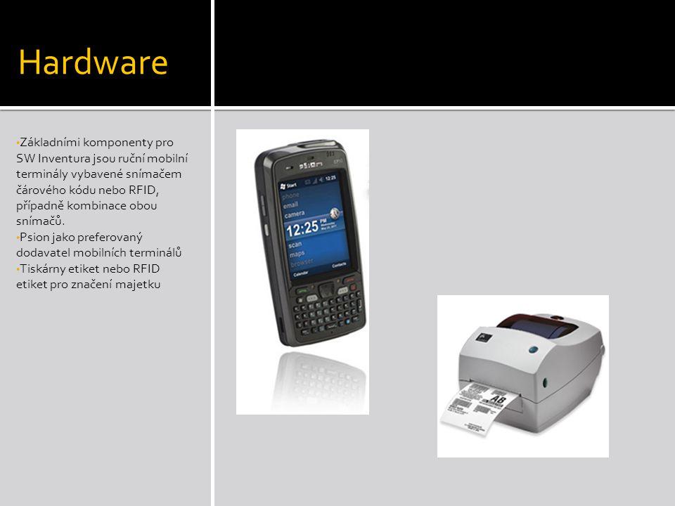 Hardware • Základními komponenty pro SW Inventura jsou ruční mobilní terminály vybavené snímačem čárového kódu nebo RFID, případně kombinace obou snímačů.