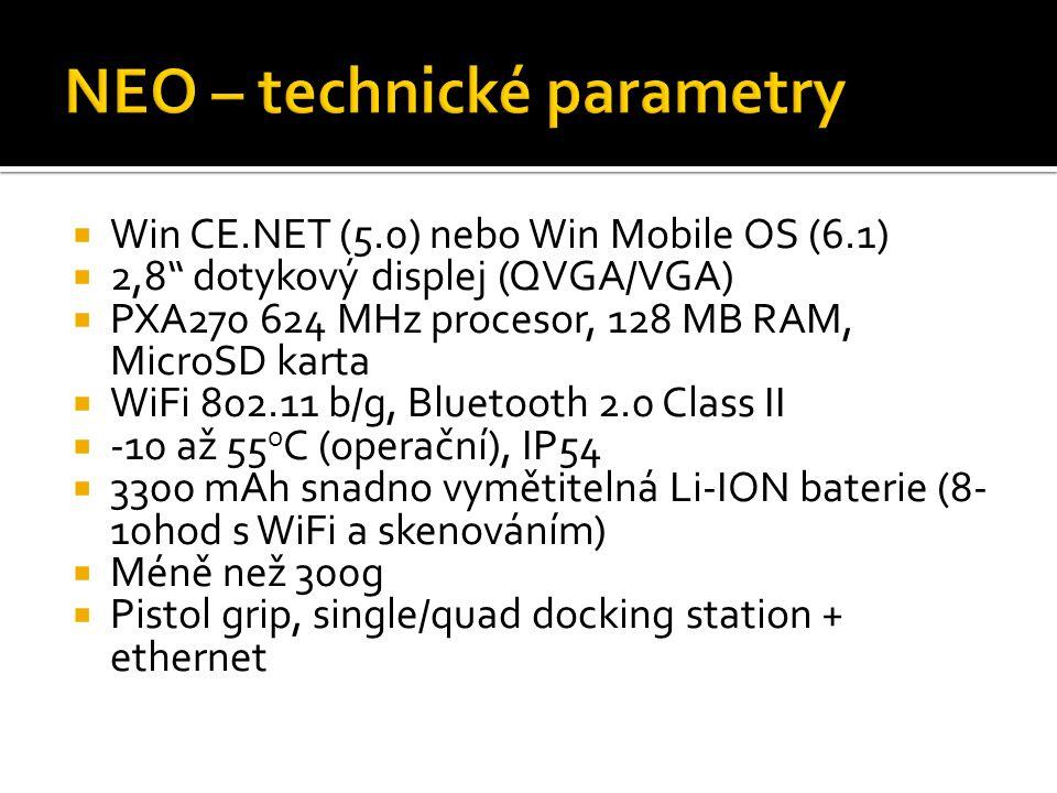 Win CE.NET (5.0) nebo Win Mobile OS (6.1)  2,8 dotykový displej (QVGA/VGA)  PXA270 624 MHz procesor, 128 MB RAM, MicroSD karta  WiFi 802.11 b/g, Bluetooth 2.0 Class II  -10 až 55 o C (operační), IP54  3300 mAh snadno vymětitelná Li-ION baterie (8- 10hod s WiFi a skenováním)  Méně než 300g  Pistol grip, single/quad docking station + ethernet