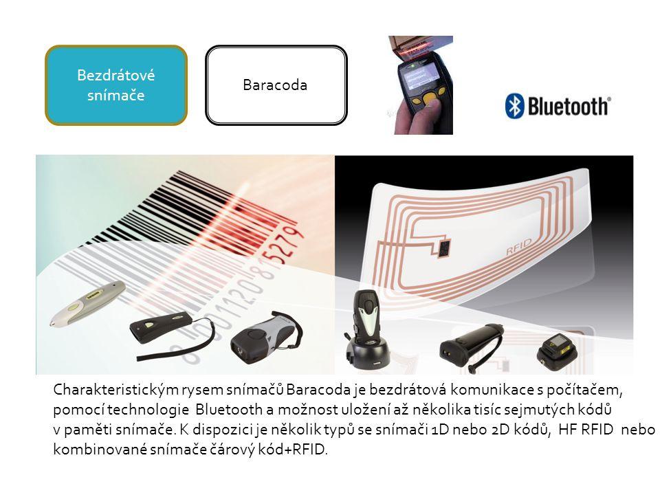 Bezdrátové snímače Baracoda Charakteristickým rysem snímačů Baracoda je bezdrátová komunikace s počítačem, pomocí technologie Bluetooth a možnost uložení až několika tisíc sejmutých kódů v paměti snímače.