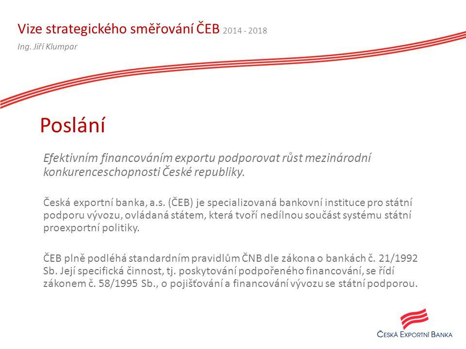 Vize strategického směřování ČEB 2014 - 2018 Efektivním financováním exportu podporovat růst mezinárodní konkurenceschopnosti České republiky.