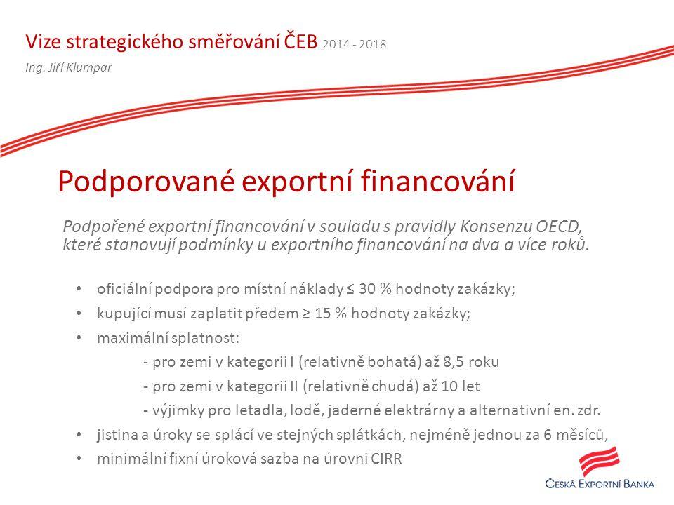 Vize strategického směřování ČEB 2014 - 2018 Podpořené exportní financování v souladu s pravidly Konsenzu OECD, které stanovují podmínky u exportního financování na dva a více roků.