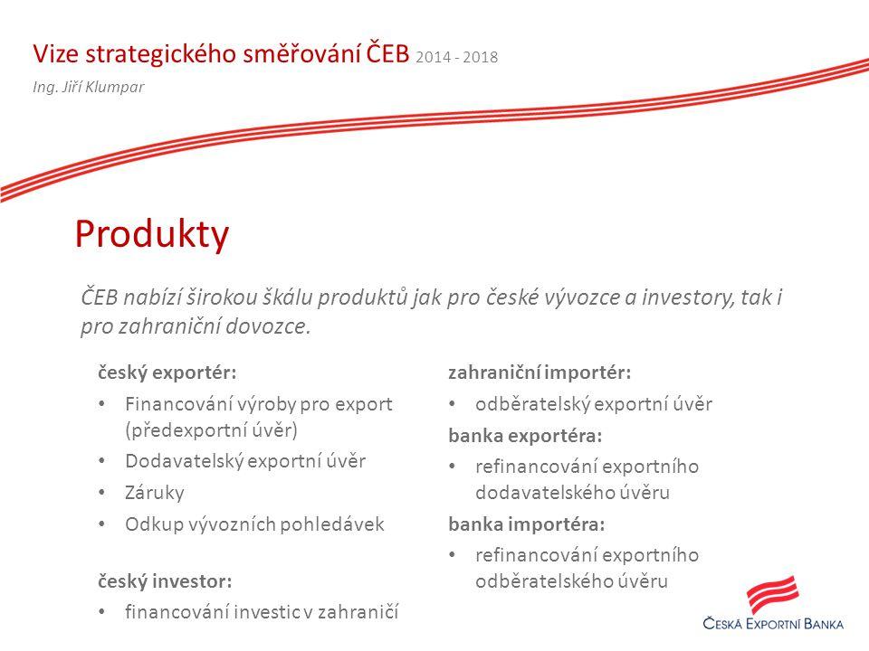 Vize strategického směřování ČEB 2014 - 2018 ČEB nabízí širokou škálu produktů jak pro české vývozce a investory, tak i pro zahraniční dovozce.
