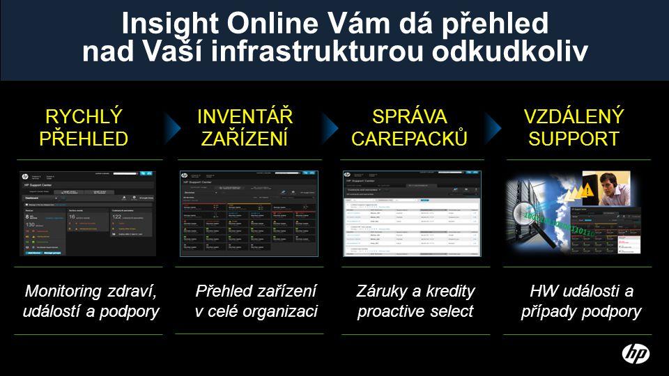 Insight Online Vám dá přehled nad Vaší infrastrukturou odkudkoliv RYCHLÝ PŘEHLED INVENTÁŘ ZAŘÍZENÍ SPRÁVA CAREPACKŮ VZDÁLENÝ SUPPORT Monitoring zdraví, událostí a podpory Přehled zařízení v celé organizaci Záruky a kredity proactive select HW události a případy podpory