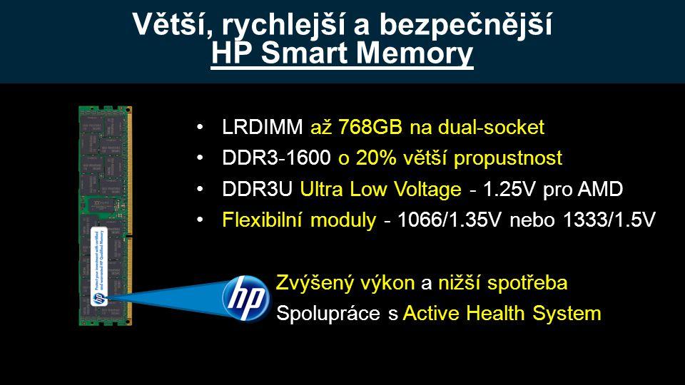 Větší, rychlejší a bezpečnější HP Smart Memory HP Confidential •LRDIMM až 768GB na dual-socket •DDR3-1600 o 20% větší propustnost •DDR3U Ultra Low Voltage - 1.25V pro AMD •Flexibilní moduly - 1066/1.35V nebo 1333/1.5V Zvýšený výkon a nižší spotřeba Spolupráce s Active Health System