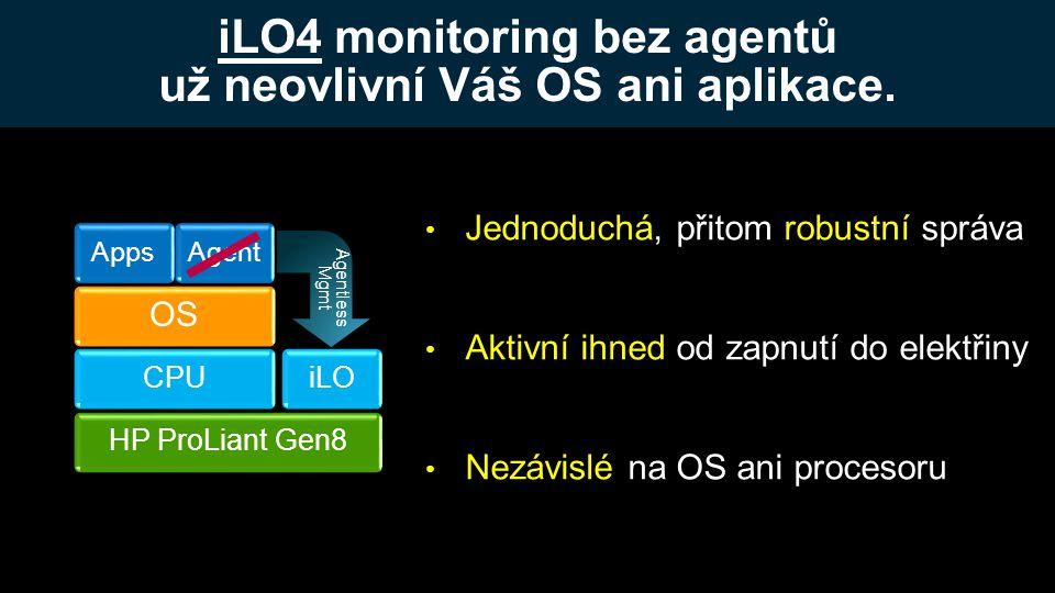 iLO4 monitoring bez agentů už neovlivní Váš OS ani aplikace.