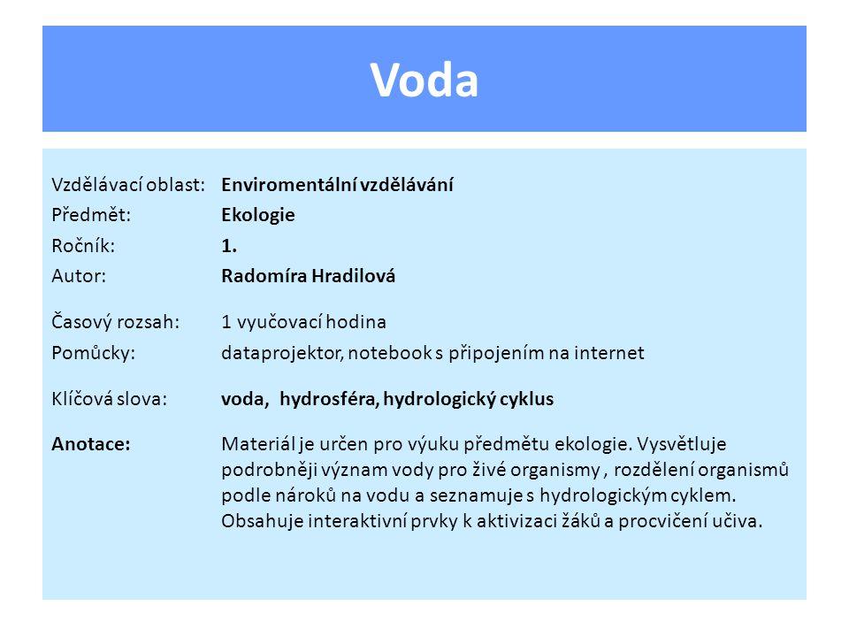 Voda Význam pro živé organismy: • Rozpouštědlo a transportní látka (příjem, transport a výdej látek).