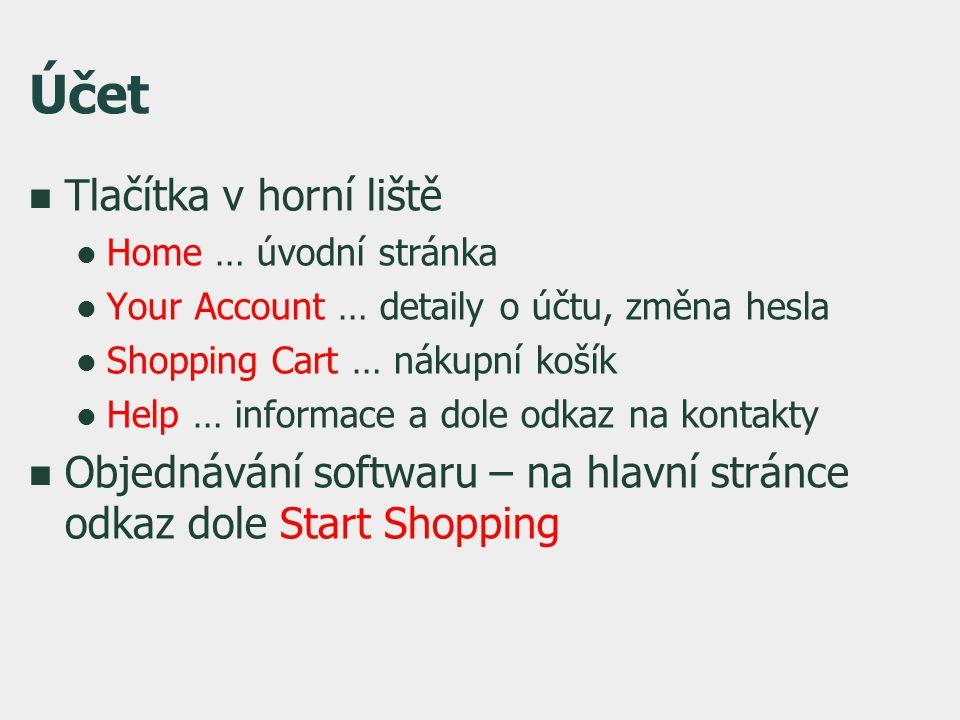 Účet  Tlačítka v horní liště  Home … úvodní stránka  Your Account … detaily o účtu, změna hesla  Shopping Cart … nákupní košík  Help … informace