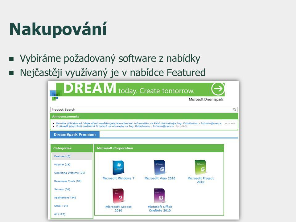Nakupování  Vybíráme požadovaný software z nabídky  Nejčastěji využívaný je v nabídce Featured