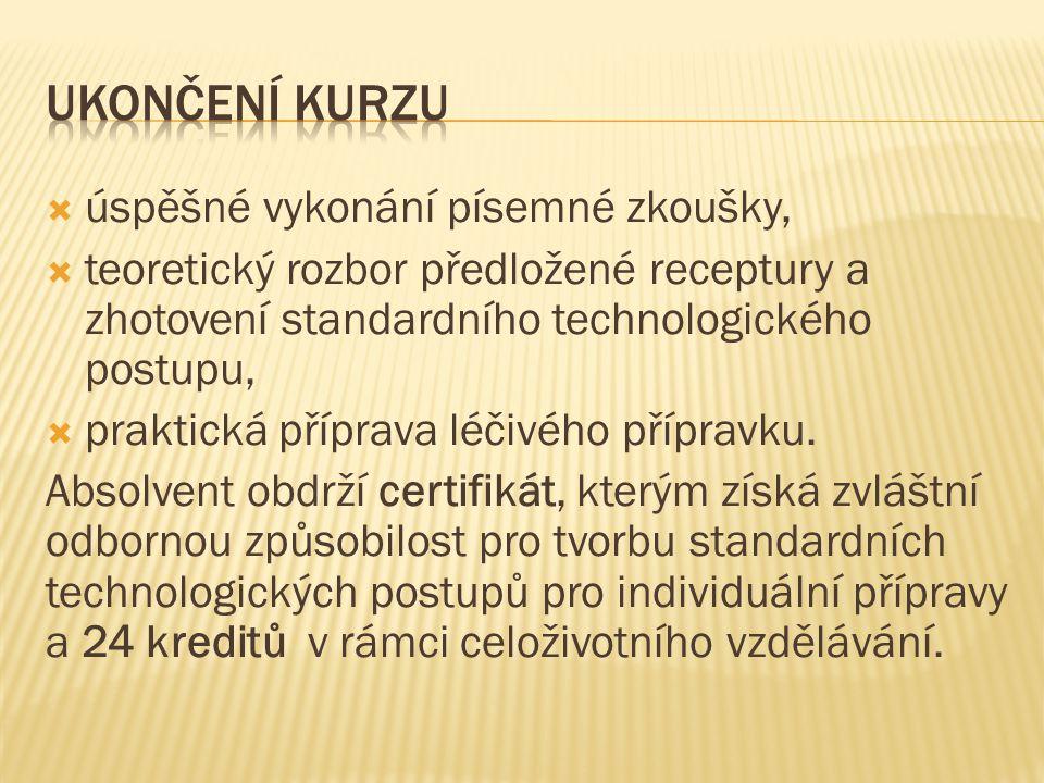 Předpokládaná cena kurzu je 2 500 korun, cena zahrnuje:  Učební texty pro výuku  Spotřební materiál pro praktická cvičení  Občerstvení včetně oběda pro každý den  Závěrečná zkouška + certifikát