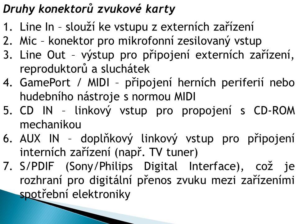Druhy konektorů zvukové karty 1.Line In – slouží ke vstupu z externích zařízení 2.Mic – konektor pro mikrofonní zesilovaný vstup 3.Line Out – výstup p