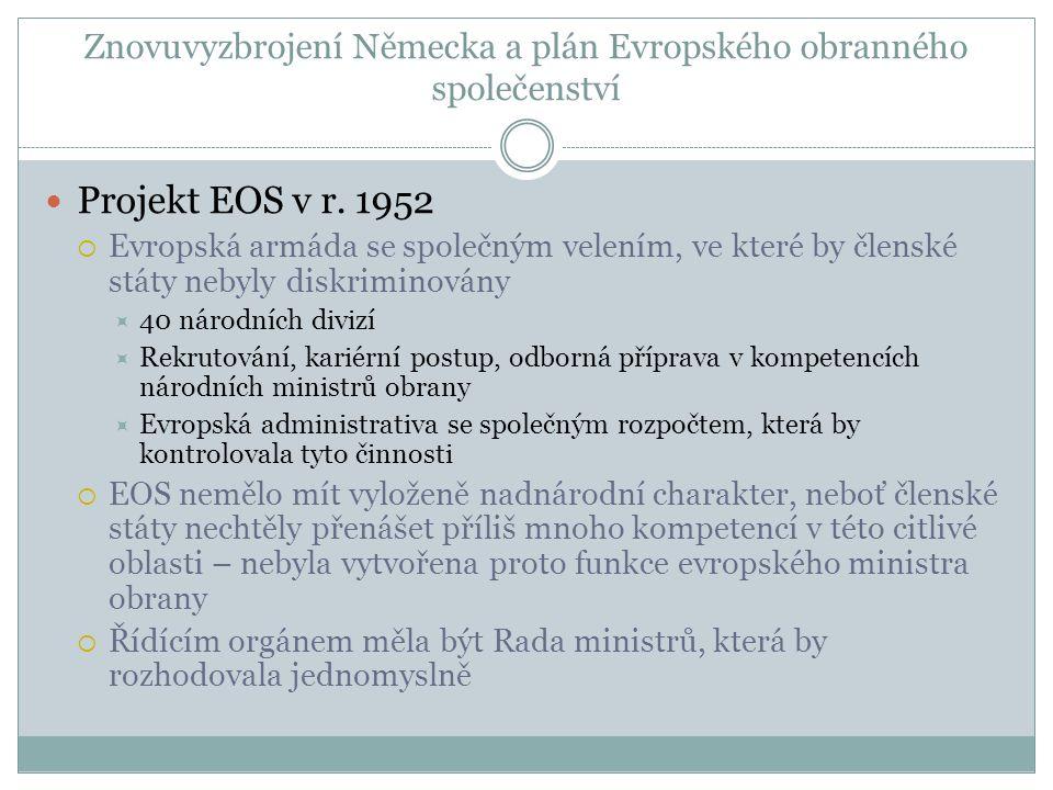 Znovuvyzbrojení Německa a plán Evropského obranného společenství  Projekt EOS v r.